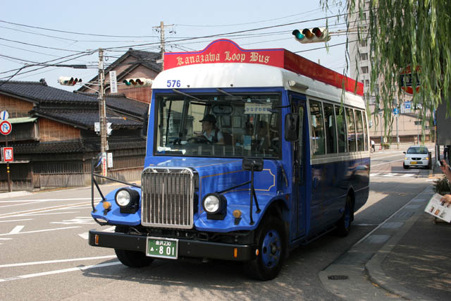 Tourist bus at Kanazawa town. Japan.