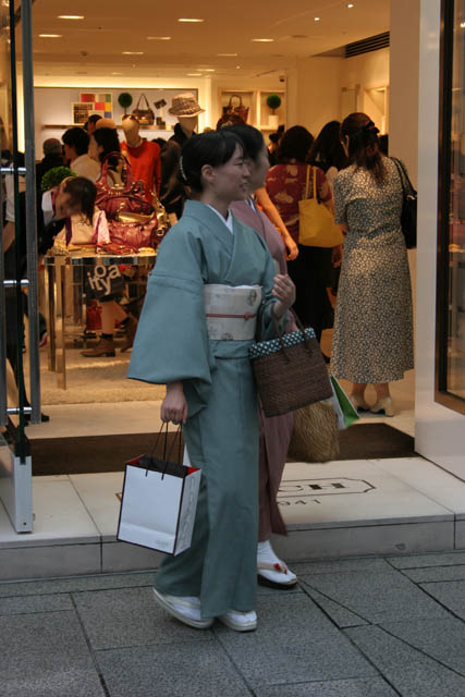 Traditions and moder life - contrasts - it is also Ginza district, Tokyo. Japan.