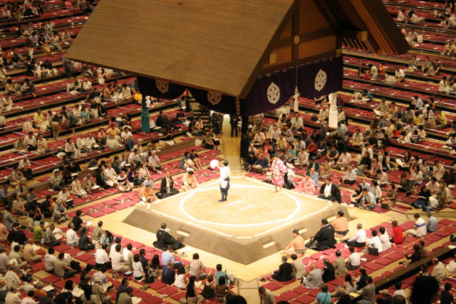 Sumo wrestling at sumo tournament. Tokyo. Japan.