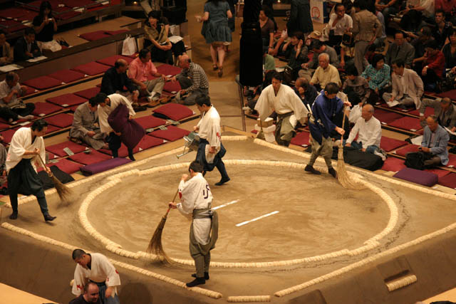 Preparation of sumo ring. Tokyo. Japan.