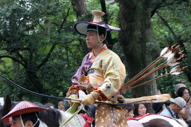 Tsurugaoka Hachiman-gu Shrine Reitaisai (Annual Festival). Today is held Yabusame - traditional japanese horseback archery. Kamakura town. Japan.