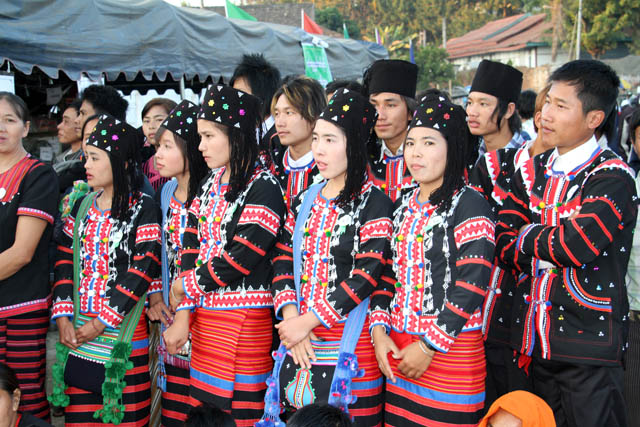People of Lahu tribe - their New Year celebration, Kengtung town. Myanmar (Burma).