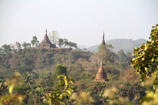 Temples and stupas view at Mrauk U area. Myanmar (Burma).