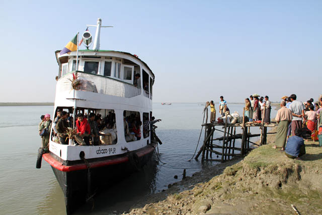 Goverment ferry is connecting Sittwe and Mrauk U. Myanmar (Burma).