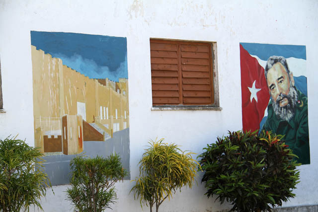 Propagandism graffitos and paintings are everywhere, Baracoa. Cuba.