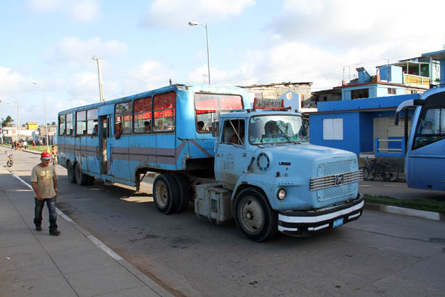 Truck as city bus, Baracoa. Cuba.