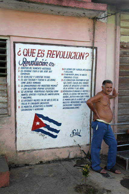 Que es revolucion? House decoration, Baracoa. Cuba.