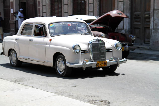 Old Mercedes-Benz car, Central Havana (Centro Habana). Cuba.