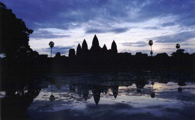 Sunset over Angkor Wat temple. Cambodia.