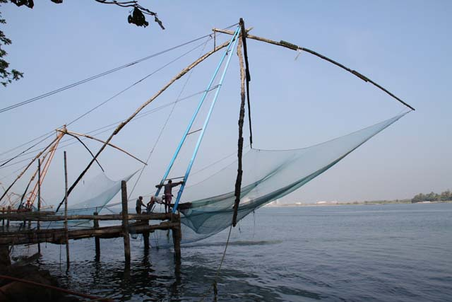 Chinese fishing nets, Kochi (Cochin), Kerala. India.