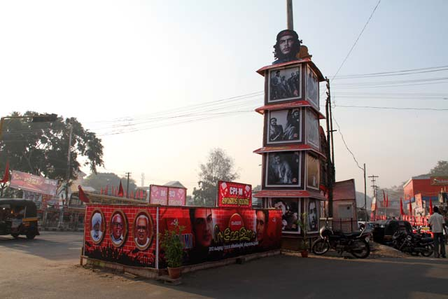 Decoration of Communist party of India (CPI) is almost everywhere at South India... Thiruvananthapuram (Trivandrum). India.