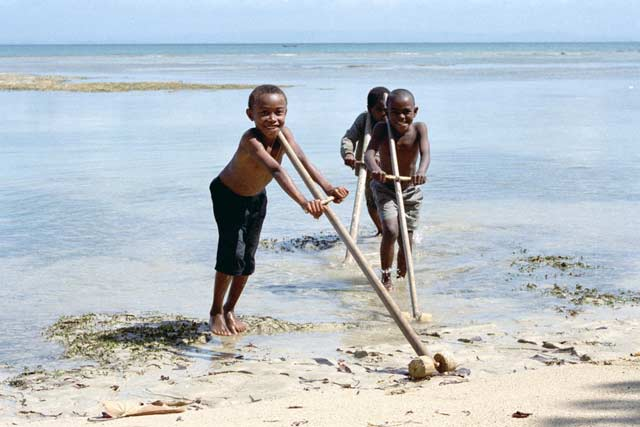 Playing children, Ile Sainte Marie island. Madagascar.