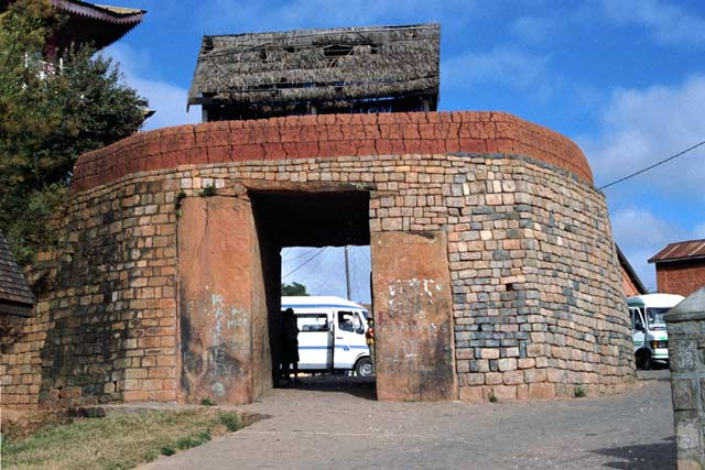 Gate to the old royal city, Ambohimanga village. Madagascar.