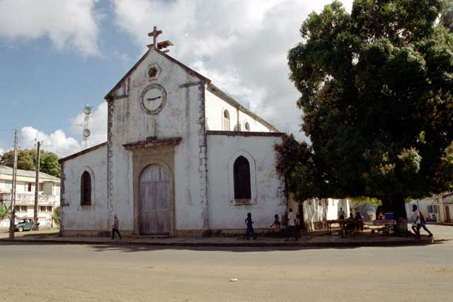 Old colonial church in Hell-Ville village. Madagascar.