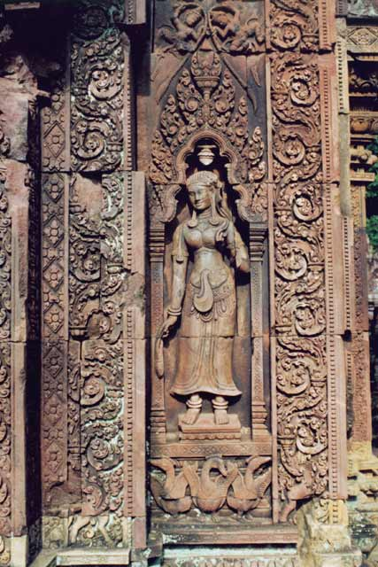 Paintings in Banteay Srei temple. Angkor Wat area. Cambodia.