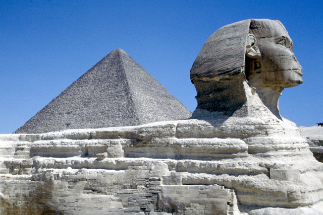 The Sphinx and the Pyramid of Cheops. Egypt.