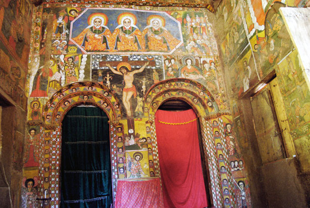 Paintings in Debre Berhan Selassie church in Gonder. North,  Ethiopia.